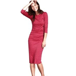 Boden Boatneck Ruched Dress, Red with Black Dots